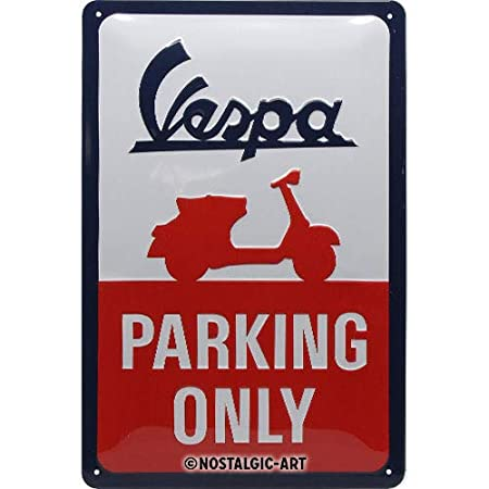 Nostalgic-Art Vespa de Parking Only Cartel de Chapa, Metal, Multicolor, 20 x 30 cm