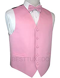 Italian Design, Men's Tuxedo Vest, Bow-Tie & Hankie Set in Pink