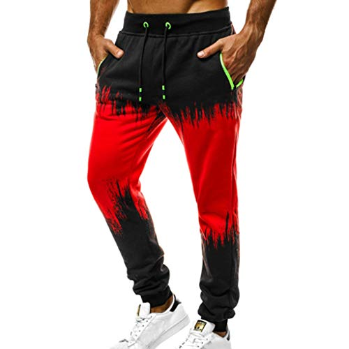XLnuln Slim Fit Mens Cotton Jogging Pants Low Crotch Drawstring Baggy Sweatpants Hip Hop Trousers Sport Jogging Fitness Pant Red