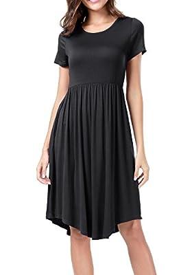 levaca Women's Short Sleeve Elastic Waist Casual Flare Midi Dress with Pockets