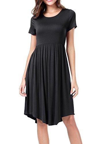 Black Waist Pockets Short with Women's Casual levaca Elastic Flare Sleeve Midi Dress xP7qMwIfZ