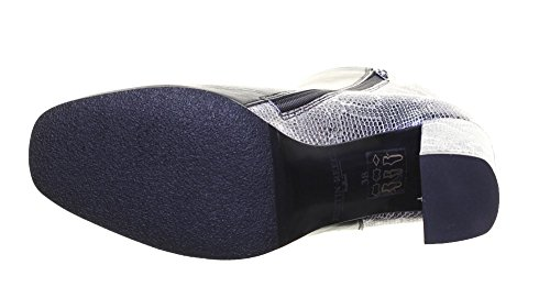 Tacco Pelle Block Con Sock Argento Stivaletti Nero Effetto Serpente Reece 100 Justin Fitted YWv6X5Uvn