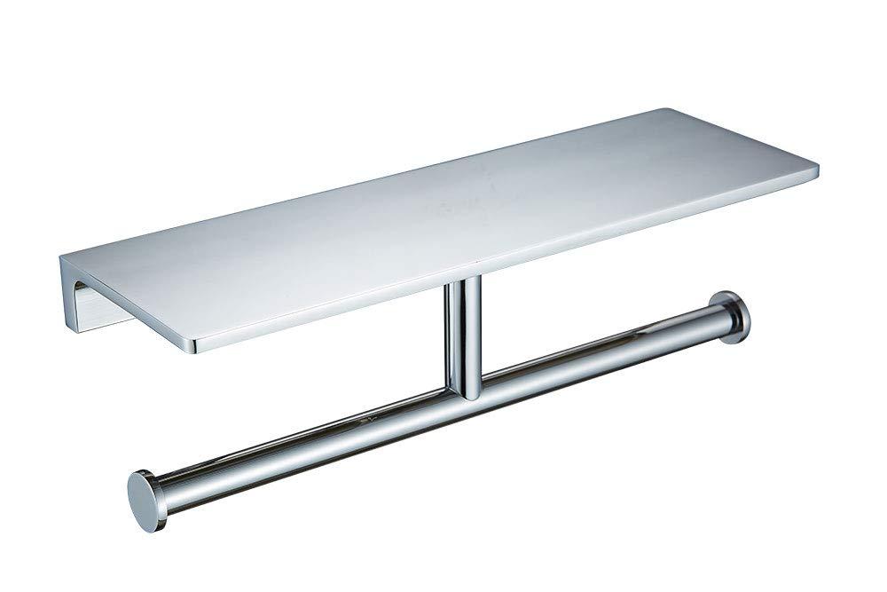 SANLIV Heavy Brass Double Roll Toilet Paper Holder Hotel Bathroom Tissue Dispenser with Spare Storage Shelf in Chrome Finish