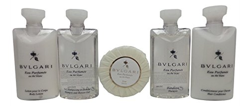 Bvlgari White Tea Au the Blanc Travel Set Shampoo, Conditioner, Lotion, Shower Gel, Soap Blanc Tea