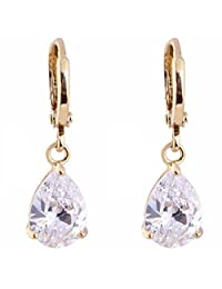 Women Simple Teardrop Dangle Pendant Earrings Crystal Copper Gold Plated New Boucles D'oreilles