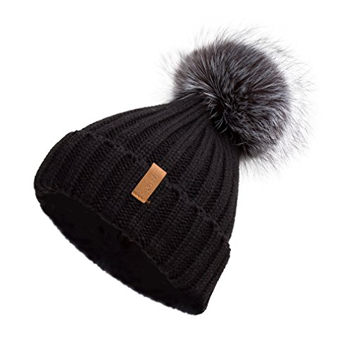 Toque Beanie Hat - Pilipala Women Knit Winter Turn up Beanie Hat with Fur Pompom VC17604 Black Gray Pompom