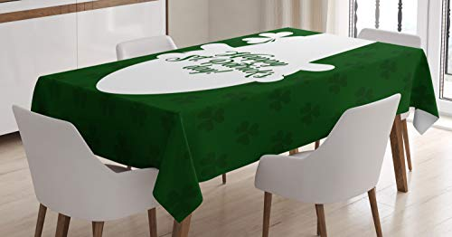 Ambesonne Irish Pub Tablecloth, Leprechaun Hat Silhouette with Clovers and Happy St Patrick's Day, Dining Room Kitchen Rectangular Table Cover, 60 W X 84 L Inches, Emerald Dark Green White