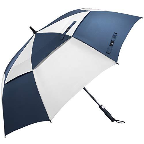 Prospo 62 Inch Oversized Auto-Open Golf Umbrella Double Canopy Vented Large Umbrella Windproof Waterproof Stick Umbrellas(Navy/White)