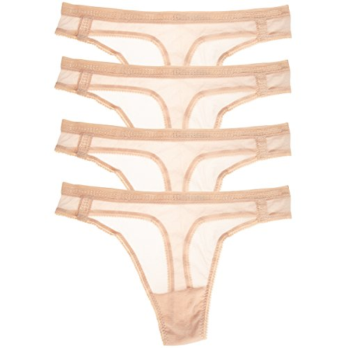 - OnGossamer (4 Pair Plus Size Womens Underwear Pack Border Lace Panties Thong Style Sexy Mesh Cotton Beige