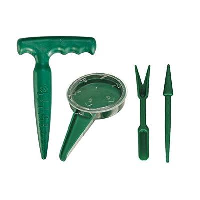 Amgate Mini Garden Hand Tool Plant Sets - Seed Sower, Pistol Grip Dibber, Mini 3 Pcs Spade Rake Shovel Set, Transplanter and Widger