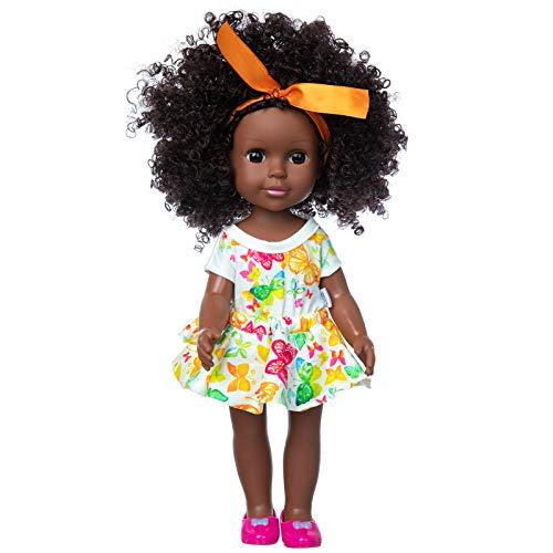 영어 재미를 블랙형 14.5 인치 여자 아기 인형 및 드레스트 아프리카 빨 수 있는 실리콘 소형으로 귀여운 드레스와 신발-는 최고의 선물을 위한 아이는 여자