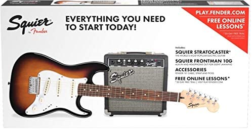 Squier® Stratocaster® Pack por Fender®, diapasón Laurel, marrón Sunburst, bolsa para concierto, 10 g – 230 V UK ...