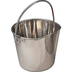 "ProSelect Stainless Steel Flat Sided Pails — Durable Pails for Fences, Cages, Crates, or Kennels - 9¾"", 9-Quart"