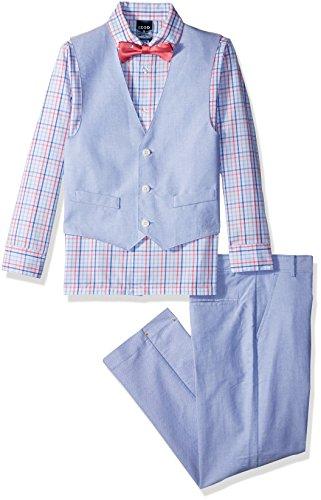 Izod boys 4-Piece Vest Set with Dress Shirt, Bow Tie, Pants, and Vest, Confetti, 14