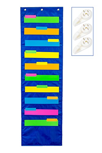 School Savings Hanging Document Organizer (Blue) – 10 Large Wall Pockets for Important Home, School or Office Paperwork, Letters or Files – Essential Work ()