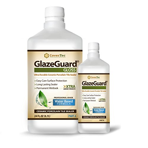 GlazeGuard Gloss Floor /Wall Sealer for Ceramic, Porcelain, Stone Tile Surfaces - 1 Qrt (2) Part Kit (Ceramic Tile Porcelain Tile)