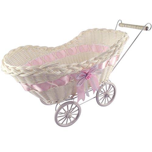 Bridal Carriage (Ben Collection Pram Baby Baskets Baby Shower Favor - Hamper Shower Stroller Vintage Craft (Pink))