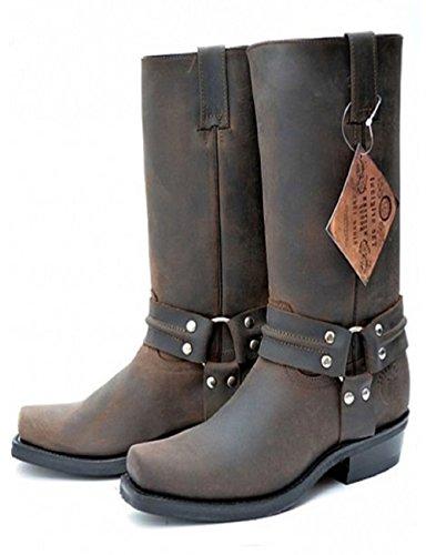 Grinders - Stivali da Cowboy uomo Brown Crazy Horse