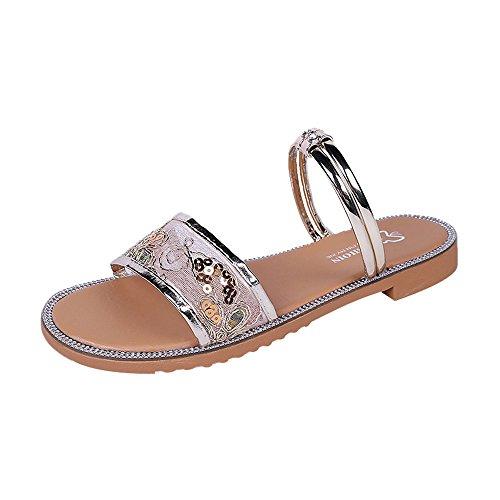 a Styledresser Casuale Moda Sandali Spiaggia Eleganti Toe Sandali Donna Spiaggia Basso Infradito Pantofole Estive Oro Donne Scarpe 2018 Roma Corda Scarpe Peep qwXPtO7
