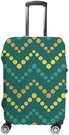 スーツケースカバー ジグザグパターン 緑 伸縮素材 キャリーバッグ お荷物カバ 保護 傷や汚れから守る ジッパー 水洗える 旅行 出張 S/M/L/XLサイズ