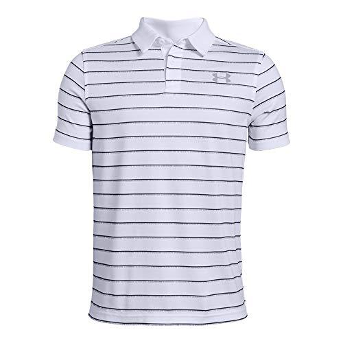- Under Armour Tour Tips Stripe Polo, White//Mod Gray, Youth Medium
