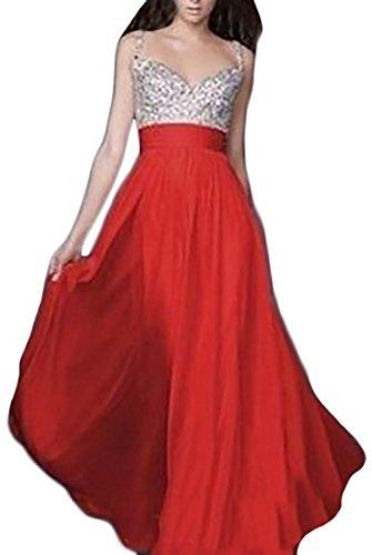 Vestidos De Fiesta Largos De Noche Mujer Elegantes Vestido De Coctel Lentejuelas De Gasa Sin Mangas V Cuello Dresses For Women Vestidos Años 50 A-Line Rojo