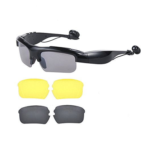 Bluetooth Sunglasses, OldShark V4.1 Bluetooth Headphones, Mp3 Music Player for Android IOS Smartphones and All Device with Bluetooth Including 2 Pair Lens(Polarized+Yellow) (Bluetooth Glasses With Mp3)