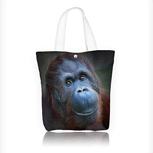 Women's Canvas Tote Handbags Happy smile of The Bornean orangutan (Pongo pygmaeus). Casual Top Handle Bag Crossbody Shoulder Bag Purse W11xH11xD3 INCH