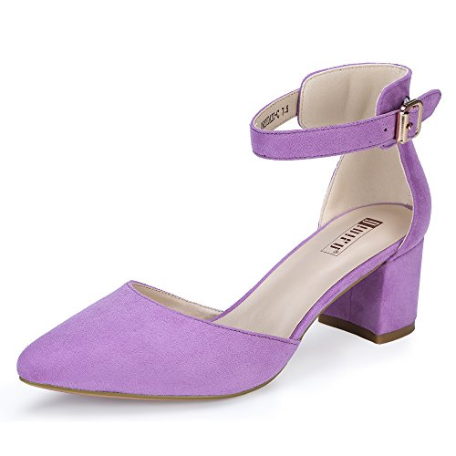 848aa49adf IDIFU Women's IN2 Pedazo-C Mid Chunky Heels Closed Pointed Toe Ankle Strap  D'