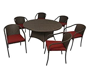"Creative Living 10093558-RBR Boli 7pc 56"" Round Dining Set w/Stacking Chairs, Ribbed Brick"