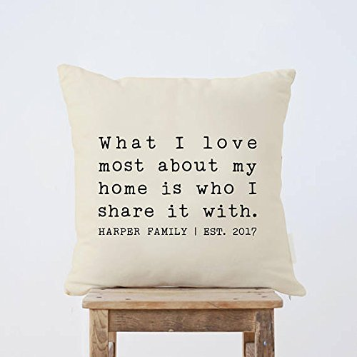 What I Love Most About My Home Is Who I Share It With Pillow Cover, Custom Throw Pillow Cover Home Decor, family christmas gifts, Housewarming Gift, 16x16