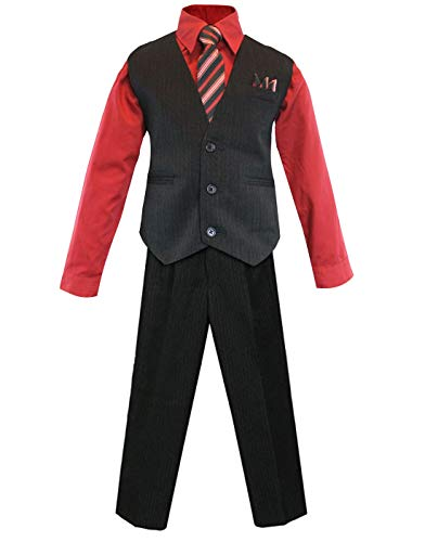 (Luca Gabriel Toddler Boys' 4 Piece Pinstripe Vest Shirt Tie Pant and Hanky Set Red - 2t)