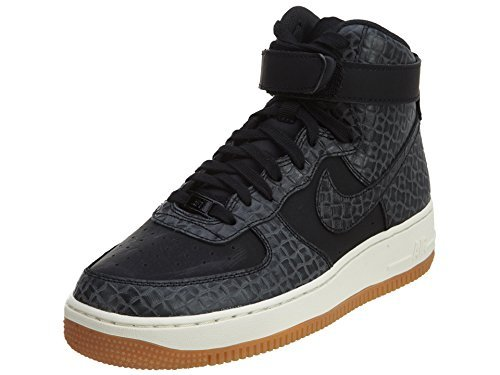 - NIKE WMNS AIR Force 1 HI PRM Womens Basketball-Shoes 654440-009_9.5 - Black/Black-Gum MED Brown-SAIL