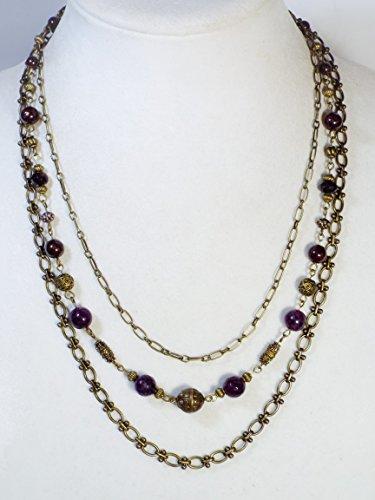 """Cynthia Lynn """"VINTAGE GARNET"""" Deep Red Garnet January Birthstone Bronze Necklace"""