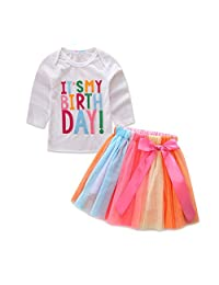 Mud Kingdom Little Girl Birthday Outfit Tops and Skirt Tutu Clothes Set