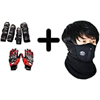 vingaboy Biker Combo of Knee Pads, Elbow Pads and Hand Gloves_Red