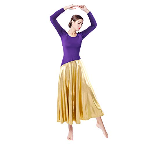 Women Classic Flowy Long Sleeve Liturgical Praise Lyrical Worship Dance Dress Metallic Bi Color Block Slim Fit Full Length Ballet Dancewear A Line Casual Flared Pleated Swing Dress a-Purple Medium