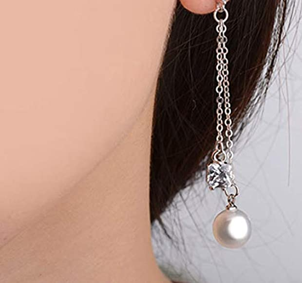 Clip on Earring Dangle Long Tassel Square Clip for non Pierced Simulated Pearl Gold-tone for teen