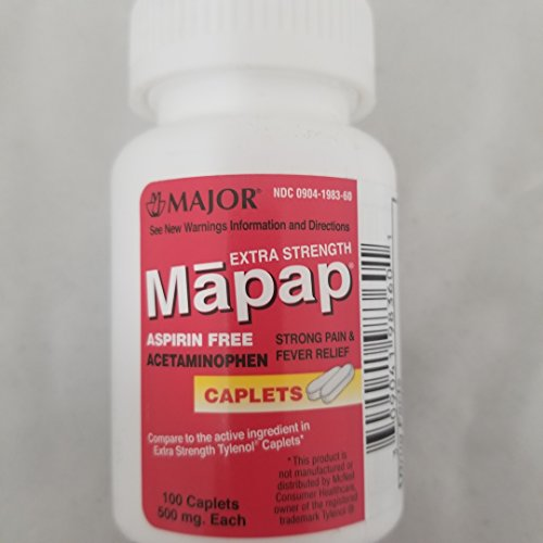 Major Mapap Extra Strength Acetaminophen 500mg,100 Caplets Per Bottle (Pack of 2)
