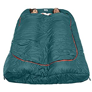 Kelty Tru.Comfort Doublewide 20 Degree Sleeping Bag, Deep Teal – Double Sleeping Bag for Couple's & Family Camping – Stuff Sack Included
