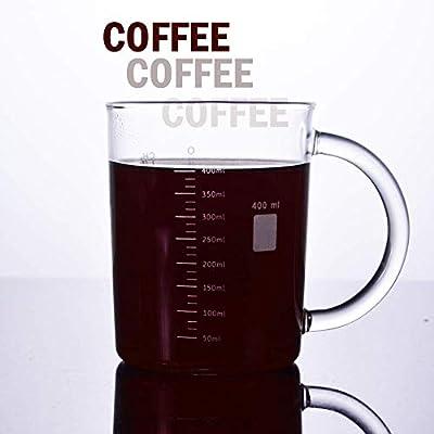 Anti-dripping Borosilicate Glass Measuring Cup Stylish Beakers Print Coffee Warmer Mate Max 16.9-ounce GLASKEY Caffeine Mug