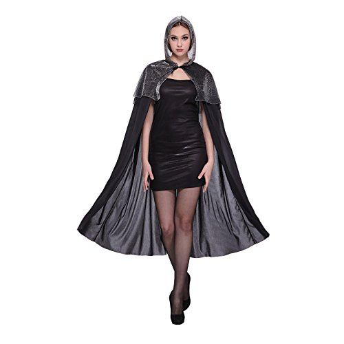 Totally Ghoul Web Cape, Black/silver (Hooded Spider Cape Web)