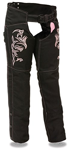 (WOMEN'S MOTORCYCLE MOTORBIKE TEXTILE CHAP W/PINK REFLECTIVE EMBROIDERY BLACK NEW (M Regular))