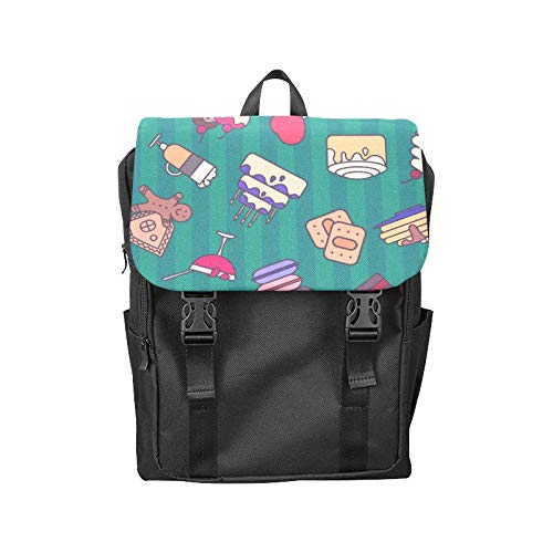 Fashion Flip Cover Notebook Bread Jam Sweet and Sour Sauce Breakfast Print Laptop Backpack Travel Men Women Business Computer Backpack Oxford Fabric Vintage School Shoulder Bag