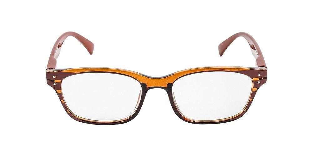 2.00 Brown Optical Reading Glasses SMART RETRO Full Frame Eyeglasses Mens Strenght