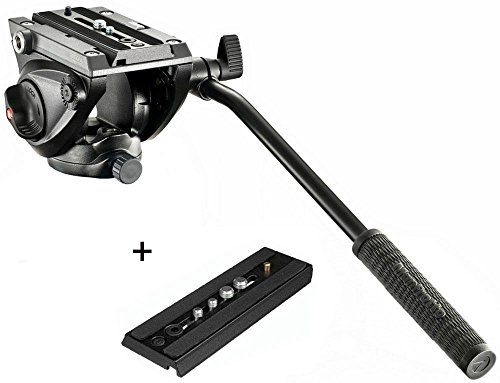 Manfrotto MVH500AH Pro Fluid Video Tripod Head with Flat Base and a Extra Ivation Sliding Plate w/ 1/4''-20 & 3/8'' Fixing Screws by Manfrotto