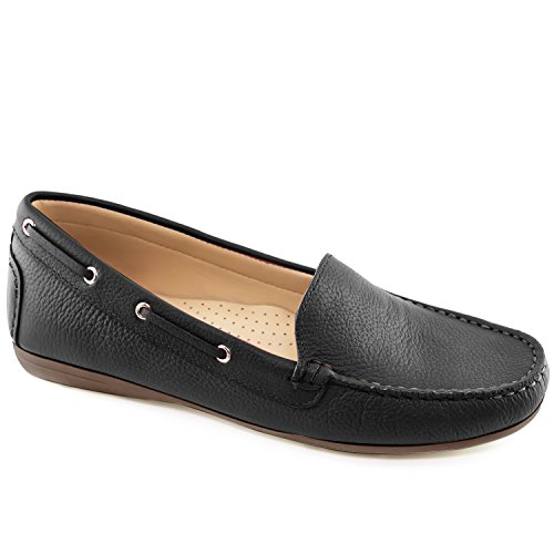 Driver Club USA Women's Leather Made in Brazil Cape Cod Driving Style Loafer Black Grainy