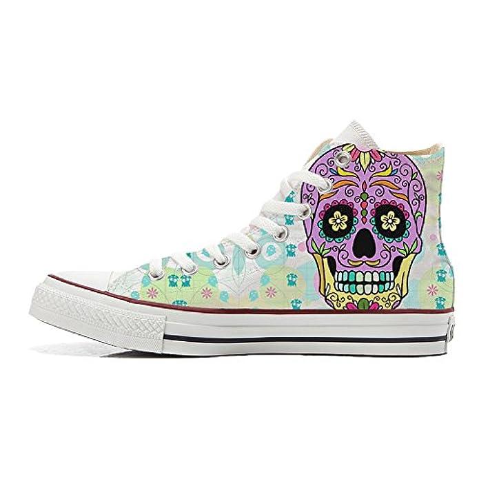 Converse Personalizzate All Star Sneaker Unisex scarpa Artigianale Coloured Teschio