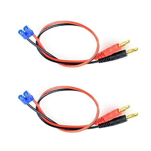 SHINA 2pcs EC2 Charging Cable Wire Connector to 4.0mm Banana Plug for Hubsan H501S X4
