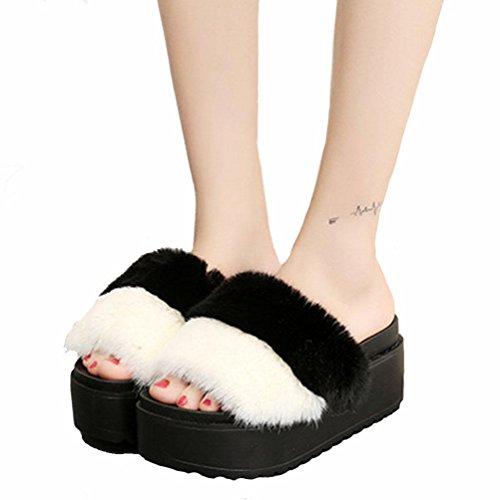 DM&Y 2017 zapatillas de felpa conejo de piel jurchen colores mezclados corteza gruesa del mollete zapatillas palabra arrastre Black